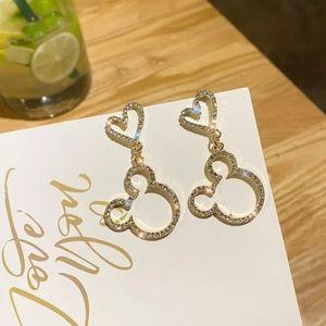 GOLD Mickey Heart Stud Earrings